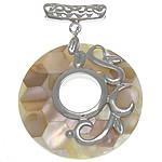 Pendants Natyrore Shell Mozaiku, Predhë, Petull e ëmbël në formë gjevreku, approx 40x40x6mm, : 3.5mm, 10PC/Qese,  Qese