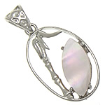 Pendants Natyrore Pink Shell, Oval, approx 17x28x3mm, : 6x4mm, 10PC/Qese,  Qese