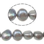 Patates Beads ujërave të ëmbla kulturuar Pearl, Pearl kulturuar ujërave të ëmbla, natyror, gri, Një, 8-9mm, : 0.8mm, :15Inç,  15Inç,
