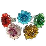 Ring Finger Crystal, Kristal, Lule, ngjyra të përziera, 6x8mm, : 18-20mm, 50PC/Kuti,  Kuti
