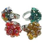 Ring Finger Crystal, Kristal, with Hekur, Lule, ngjyra të përziera, 6x8mm, : 18-19mm, 50PC/Kuti,  Kuti
