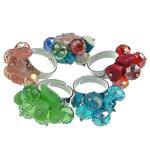 Ring Finger Crystal, Kristal, with Gur i çmuar & Hekur, ngjyra të përziera, 8x10mm, : 18-20mm, 50PC/Kuti,  Kuti