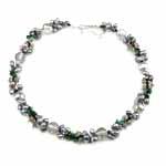 Ujërave të ëmbla Pearl gjerdan Crystal, Kristal, Ngjyra argjend praruar, 121mm, 5-7mm, :16.5Inç,  16.5Inç,