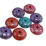 Beads shndritshëm akrilik, Rondelle, pearlized, ngjyra të përziera, 15.50x7.50mm, : 3mm, 470PC/Qese,  Qese