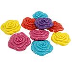 Beads Solid Color akrilik, Lule, ngjyra të forta, ngjyra të përziera, 29.50x27x13mm, : 2mm, 100PC/Qese,  Qese