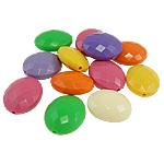 Beads Solid Color akrilik, Drejtkëndësh, ngjyra të forta, ngjyra të përziera, 20x24x11mm, : 2mm, 160PC/Qese,  Qese