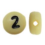 Beads akrilik alfabet, Monedhë, ngjyra të përziera, 7x4mm, : 1mm, 3600PC/Qese,  Qese