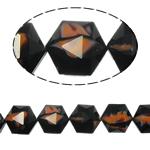 Millefiori Perlen, Kristall, Sechseck, schwarz, 14x16x10mm, Bohrung:ca. 1.5mm, 20PCs/Strang, verkauft per 12 ZollInch Strang