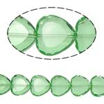 Herz Kristallperlen, Kristall, Peridot, 16x16x8mm, Bohrung:ca. 1.5mm, 18PCs/Strang, verkauft per 10.5 ZollInch Strang