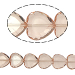 Beads Crystal Heart, Kristal, Zemër, Vintage Rose, 16x16x8mm, : 1.5mm, :10.5Inç, 18PC/Fije floku,  10.5Inç,