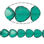 Beads Crystal Heart, Kristal, Zemër, Smerald, 16x16x8mm, : 1.5mm, :10.5Inç, 18PC/Fije floku,  10.5Inç,