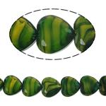 Millefiori Perlen, Kristall, Herz, grün, 16x16x8mm, Bohrung:ca. 1.5mm, 18PCs/Strang, verkauft per 10.5 ZollInch Strang