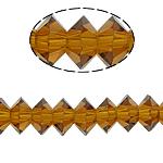 Doppelkegel Kristallperlen, Kristall, Untertasse, Rauchtopas, 3x6mm, Bohrung:ca. 2mm, 100PCs/Strang, verkauft per 13 ZollInch Strang