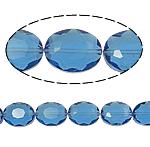 Beads Ovale Crystal, Kristal, asnjë, Lt Sapphire, 12x16x8mm, : 2mm, :15.7Inç, 25PC/Fije floku,  15.7Inç,