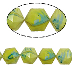 Millefiori Perlen, Kristall, Sechseck, gelb, 13x16x11mm, Bohrung:ca. 1.5mm, 20PCs/Strang, verkauft per 12 ZollInch Strang