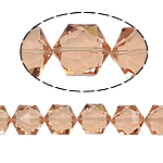 Gjashtëkëndësh Beads Crystal, Kristal, Vintage Rose, 13x16x11mm, : 1.5mm, :12Inç, 20PC/Fije floku,  12Inç,