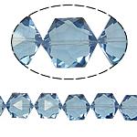 Gjashtëkëndësh Beads Crystal, Kristal, Lt Sapphire, 13x16x11mm, : 1.5mm, :12Inç, 20PC/Fije floku,  12Inç,