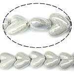 Perlmuttartige Porzellan Perlen, Herz, grau, 20-21x17-18x9-10mm, Bohrung:ca. 2.5mm, 200PCs/Tasche, verkauft von Tasche