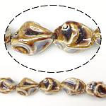 Perlmuttartige Porzellan Perlen, Klumpen, Chromgelb, 21-23x16-18mm, Bohrung:ca. 2.5mm, 100PCs/Tasche, verkauft von Tasche