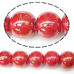 Beads pearlized Porcelani, Round, i praruar, i kuq, 9-10x11mm, : 2mm, 100PC/Qese,  Qese