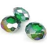 European Beads Crystal, Kristal, Rondelle, asnjë, pa karrem, Gjelbër fier, 8-9x14-15mm, : 6mm, 100PC/Qese,  Qese