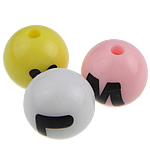 Alphabet Acryl Perlen, rund, gemischte Farben, 12mm, Bohrung:ca. 2mm, 550PCs/Tasche, verkauft von Tasche