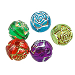 Beads akrilik të përziera, Lule, theks argjendi, ngjyra të përziera, 8mm, : 1mm, 2000PC/Qese,  Qese