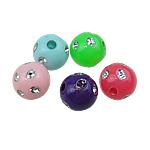 Theks Silver Beads akrilik, Round, theks argjendi, ngjyra të përziera, 8mm, : 1mm, 2200PC/Qese,  Qese