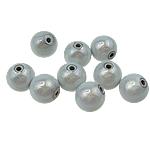 Beads akrilik Mrekulli, Round, matte argjendi, 20mm, : 2.5mm, 123PC/Qese,  Qese