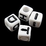 Beads akrilik alfabet, Kub, mrekulli, 7x7mm, : 4mm, 1950PC/Qese,  Qese