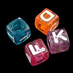 Alphabet Acryl Perlen, Würfel, gemischte Farben, 7x7mm, Bohrung:ca. 4mm, 1950-2000PCs/Tasche, verkauft von Tasche
