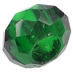 European Beads Crystal, Kristal, Rondelle, pa karrem, Gjelbër fier, 8-9x14-15mm, : 6mm, 100PC/Qese,  Qese