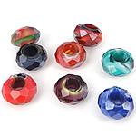 European Beads Crystal, Rondelle, asnjë, pa karrem, ngjyra të përziera, 8-9x14-15mm, : 6mm, 100PC/Qese,  Qese