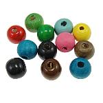 Beads druri, Round, i lyer, ngjyra të përziera, 9x10mm, : 2mm, 1500PC/Qese,  Qese