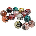 Beads Printime akrilik, Round, ngjyra të përziera, 10mm, : 2mm, 850PC/Qese,  Qese