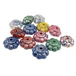 Beads Printime akrilik, Lule, ngjyra të përziera, 19x12mm, : 3mm, 210PC/Qese,  Qese