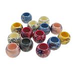 Beads Printime akrilik, Daulle, ngjyra të përziera, 14x11mm, : 8mm, 560PC/Qese,  Qese