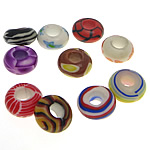 European Beads bizhuteri Polimer balta, Polymer Clay, Rondelle, Ngjyra argjend praruar, pa karrem, ngjyra të përziera, 7-7.5x14-15mm, : 5-5.5mm, 100PC/Qese,  Qese