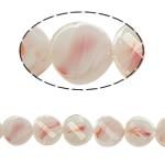 Millefiori Perlen, Kristall, oval, weiß, 14x7mm, Bohrung:ca. 2mm, 25PCs/Strang, verkauft per 13.7 ZollInch Strang