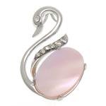 Pendants Natyrore Pink Shell, Mjellmë, asnjë, me diamant i rremë, rozë, 20x30.50x6mm, : 2.5x4.5mm, 10PC/Shumë,  Shumë