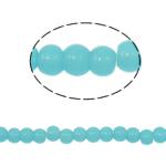 Runde Kristallperlen, Kristall, Türkis, 4mm, Bohrung:ca. 1mm, Länge:10.5 ZollInch, 10/