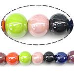 Beads pearlized Porcelani, Round, ngjyra të përziera, 14-16x13-14x14-16mm, : 2mm, 100PC/Qese,  Qese
