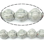 Beads pearlized Porcelani, Bicone, gri, 15x16mm, : 2.5mm, 100PC/Qese,  Qese