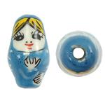 Beads bizhuteri Porcelani, Vajzë, shtypje, Skyblue, 13x22mm, : 3mm, 50PC/Qese,  Qese