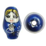 Beads bizhuteri Porcelani, Vajzë, shtypje, blu, 16x27mm, : 2.5mm, 50PC/Qese,  Qese