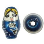Beads bizhuteri Porcelani, Vajzë, shtypje, 16x27mm, : 2.5mm, 50PC/Qese,  Qese