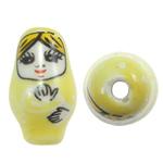 Beads bizhuteri Porcelani, Vajzë, shtypje, i verdhë, 16x27mm, : 2.5mm, 50PC/Qese,  Qese