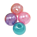 Beads plastike, ABS plastike, Round, asnjë, ngjyra të përziera, 6mm, : 2mm, 4160PC/Qese,  Qese