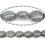 Beads pearlized Porcelani, Oval, i praruar, gri, 17-18x19-20x12-13mm, : 2.5mm, 100PC/Qese,  Qese