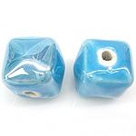 Beads pearlized Porcelani, Kub, i praruar, blu, 13-14x13-14mm, : 2.5mm, 100PC/Qese,  Qese
